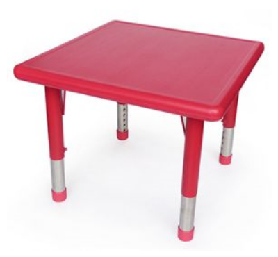 Square Red Plastic Table