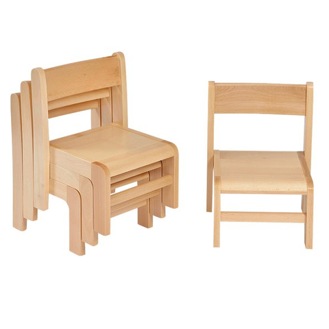 Stackable Beech Chairs 4 pack