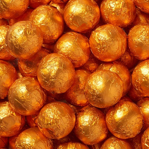 Foiled Milk Chocolate Caramel Balls Orange (2.5 lb)