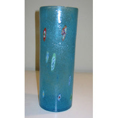 Tall Aqua Art Recycled Vase
