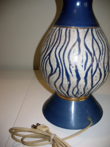 Rare Vintage Mid Century Blue and Gold Table Lamp
