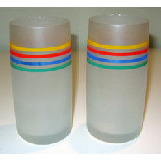 Pair of Retro Frosted Striped Tumblers