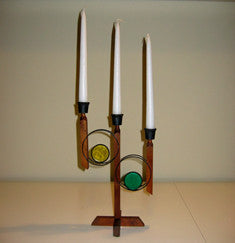 Recycled Wooden Candelabra with Stained Glass Detailing