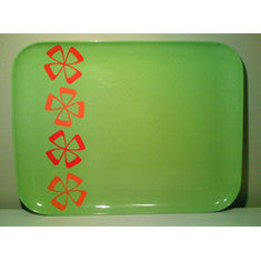 Vintage Acrylic Tray in Green with Orange Graphic Flowers