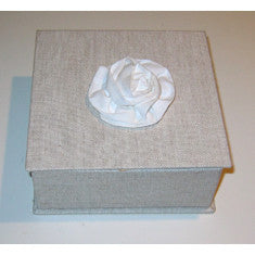 Linen Box with White Cotton Flower Top