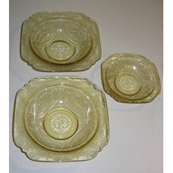 MADRID pattern Depression Glass Bowls, Set of 3