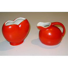 Vintage Red/Orange Creamer & Sugar Bowl