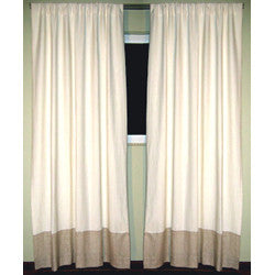 GreenSage® White Linen, Natural Taupe Border Sustainable Drapes