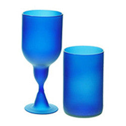 Recycled Glass Frosted Royal Blue Bottle Set