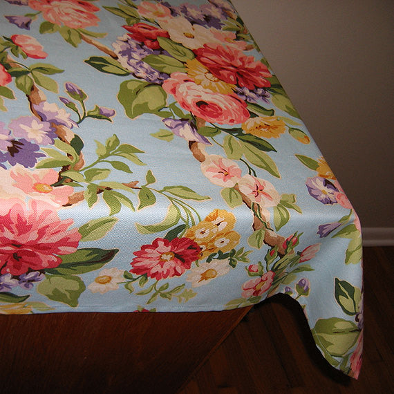 Designer Tablecloths by GreenSage® - Robins Egg Blue Floral