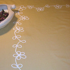 Vintage Taupe Colored Tablecloth with White Design