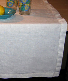 Vintage White Cutwork Linen Tablecloth