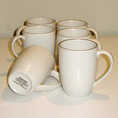 Vintage Dansk Santiago 6 Coffee Mugs in Stoneware White