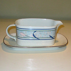 Vintage Mikasa Intaglio Tropical Island Gravy Boat and Plate