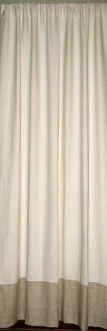 White Linen, Natural Taupe Border Sustainable Drapes
