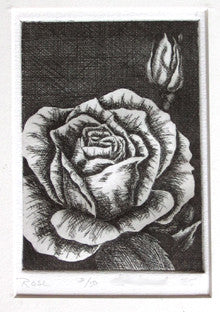 The Rose Floral Art Etching