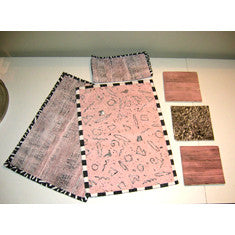 Vintage 1980s Handmade Placemats and Tile Set