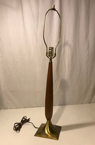 Mid Century Modern Tall Brass and Wood Spindle style Table Lamp