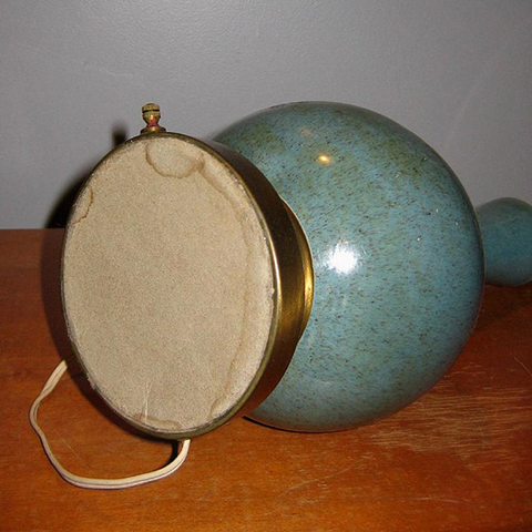 Rare Vintage Speckled Teal Mid Century Table Lamp