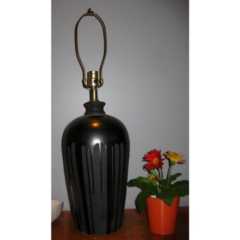 1960s Markel Table Lamp, Charcoal Gunmetal Color Drip Glazed Stoneware