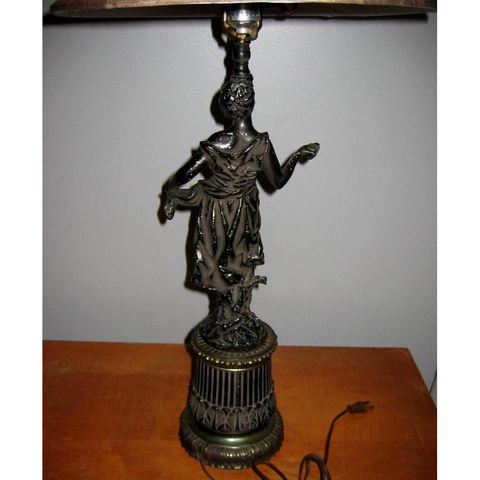 Antique Classical Black Metal Female Figure Table Lamp