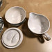 Vintage Black and White Cups, Saucers, Cream & Sugar, Marked D