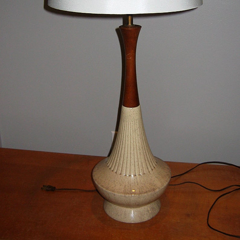 1950s Ceramic Table Lamp, Fluted Flecked Beige with Wood Trim