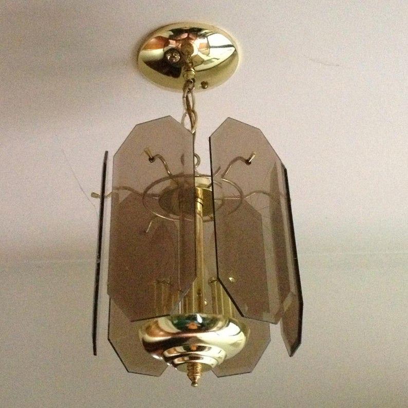 Vintage 1960's Smoked Glass Chandeliers. Two sizes. All Original