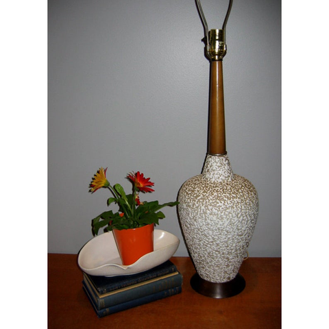 "Mid Century Modern ""China Craft"" style Ceramic with Wood Table Lamp"