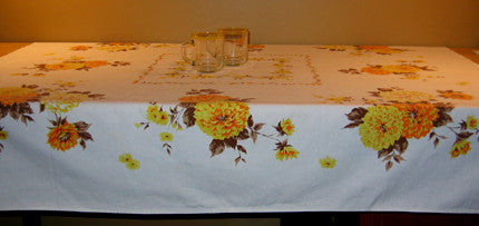Vintage Printed Mum Floral Cotton Tablecloth