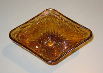 Vintage Marigold Carnival Glass Candy Dish, Mint