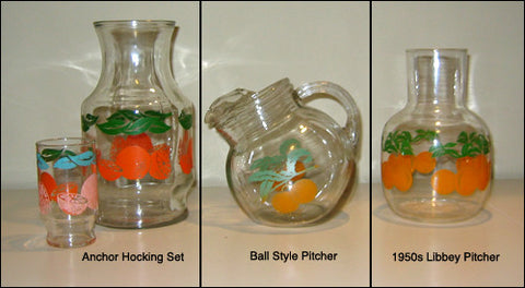 Vintage Orange Juice Pitchers & Glasses