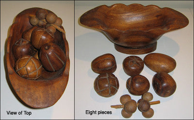 Vintage Wooden Fruit Basket Set