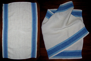 Four Cool Vintage White Linen Towels with Blue Detailing