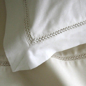 Coyuchi Organic Cotton Pillow Cases Lace Detail WHITE SALE