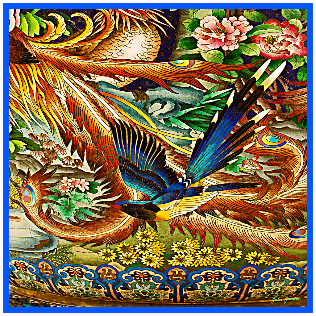 Blue Bird Vase Scarf