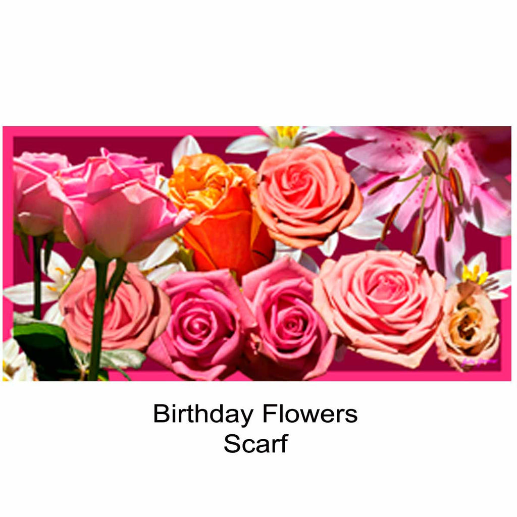 Birthday Flowers Silk Scarf