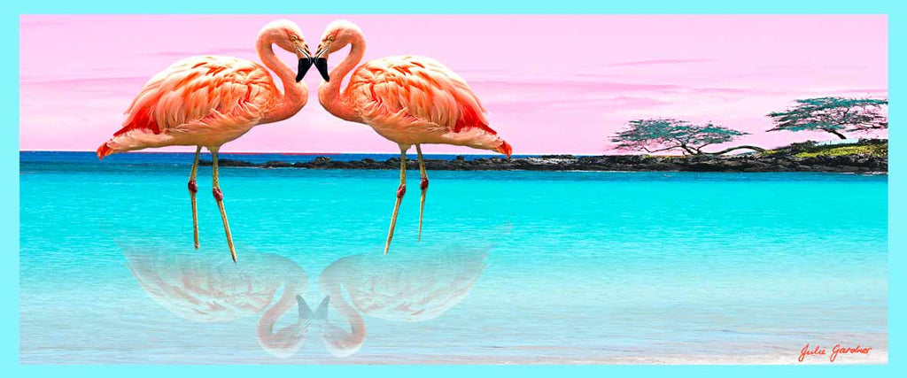 Hawaii Beach With Flamingo