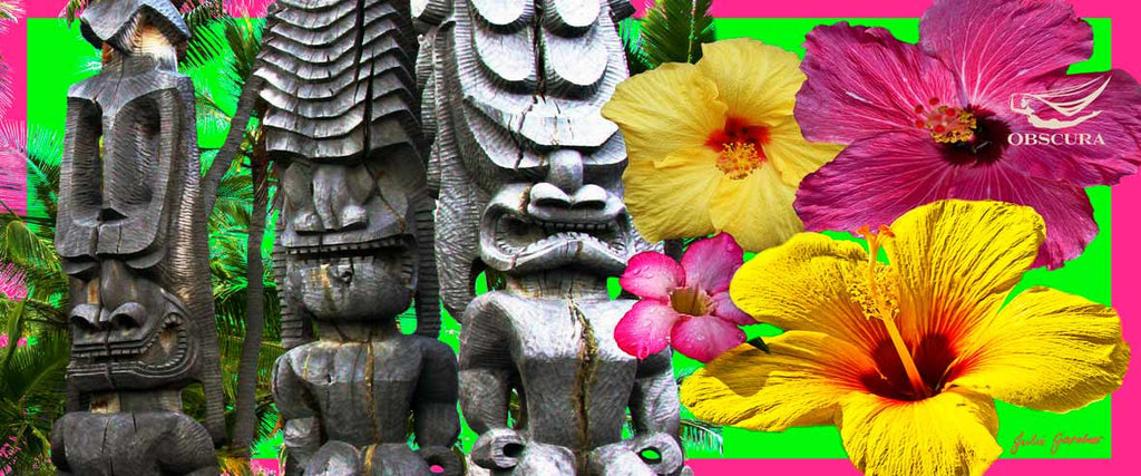 Hawaii Flowers with Statues