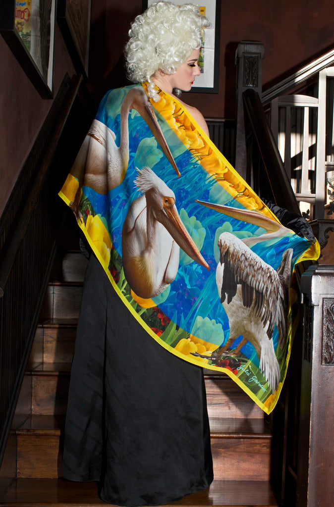 Pelicans on Tulips Silk Scarf