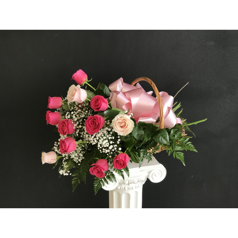 Dozen Roses in a French Basket - NE Flower Boutique