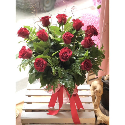 A Red Dozen in a Vase - NE Flower Boutique