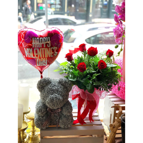 6-Half Dozen in a Vase, Rose Bear and a Balloon combo - NE Flower Boutique