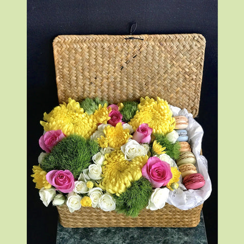 Woven Box with Macaroons - NE Flower Boutique