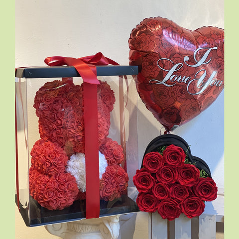 Rose Bear, Heart box and Balloon - NE Flower Boutique