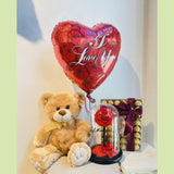 Teddy bear, Forever rose in a dome, Ferraro Rocher and a Balloon - NE Flower Boutique