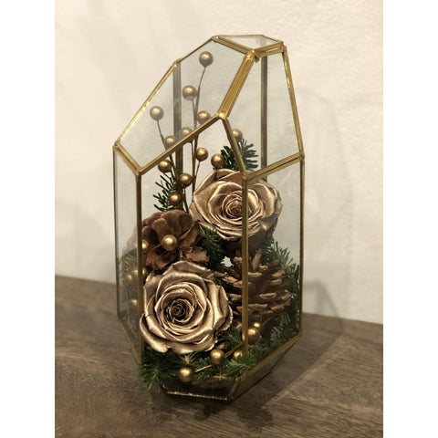 Gold and Festive Terrarium - NE Flower Boutique