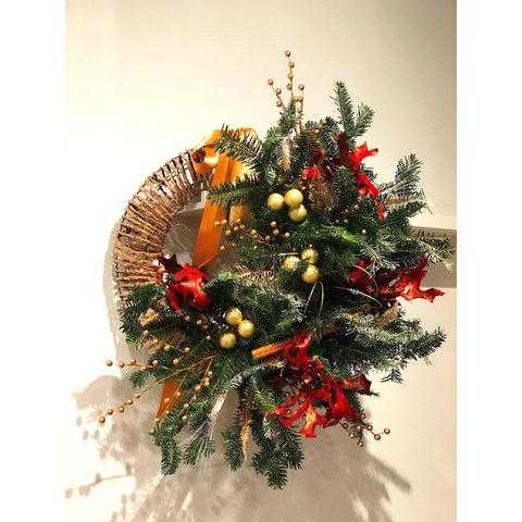 Gold & Red Holiday Wreath - NE Flower Boutique
