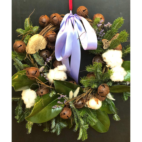 Cotton Love Christmas Wreath - NE Flower Boutique