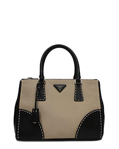 92d7b71f73497d ... snap closure makes this bag a beauty with great utility. From Prada,  this tote bag is crafted from canvas and features leather trim detailing,  ...